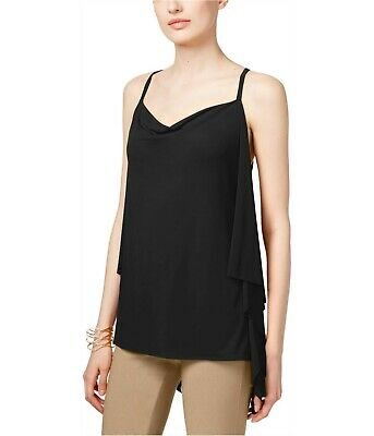 INC International Concepts Sleeveless Draped-Back Top Deep Black, Small (Deep Drape Back Top)