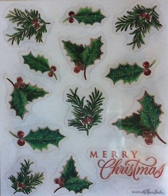 Merry Christmas Holly Pine Holiday Glitter Scrapbook Stickers - Christmas Scrapbook