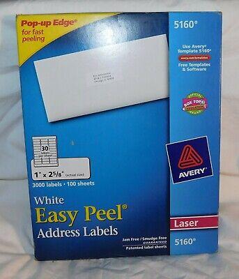 Avery Easy Peel Address Labels For Laser Printer 1x2 58 White 3000 Per Box 5160