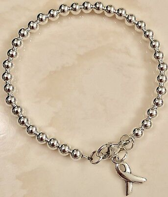 (CUTE .925 Genuine REAL Sterling Silver Beaded Bracelet With Awareness Ribbon)