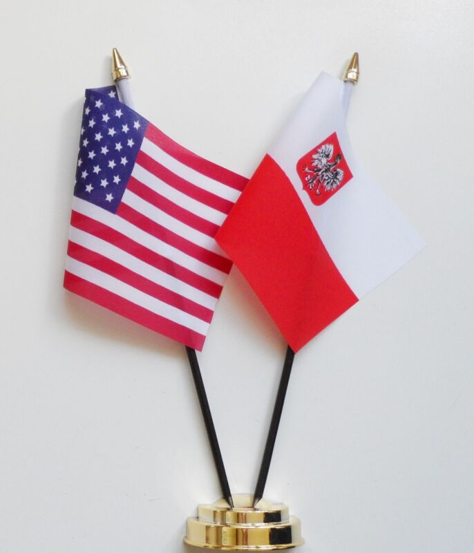 United States of America & Poland Eagle Double Friendship Table Flag Set