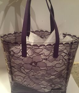 Marc by Marc Jacobs transparent lace purple tote bag