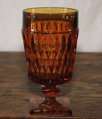 """6"""" Amber footed glass goblet; unmarked  Indiana Mount Vernon"""
