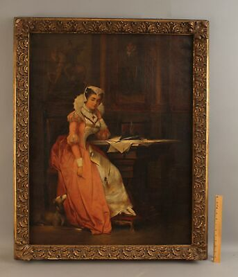 Lrg Signed Antique Portrait Oil Painting 16thC Scottish MARY QUEEN of SCOTS