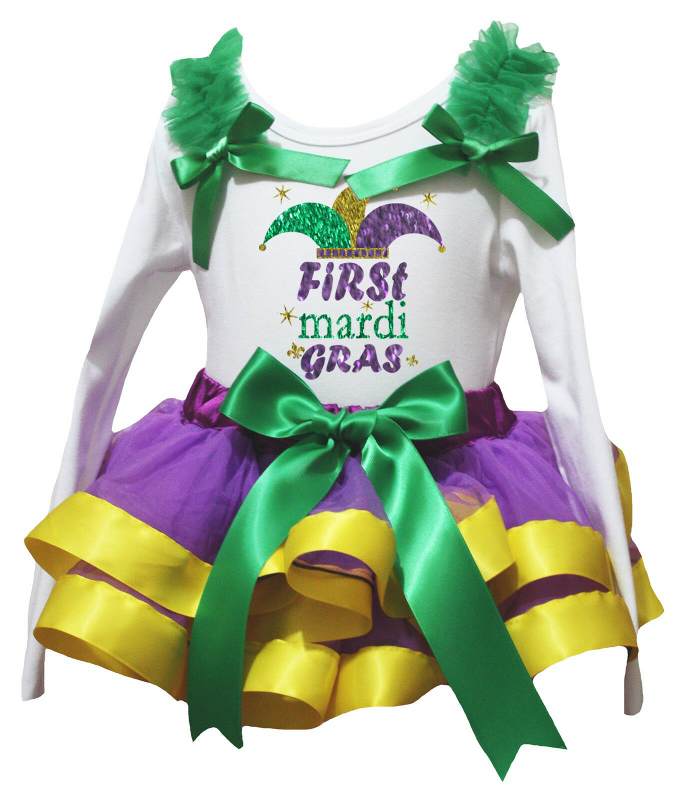 Mardi Gras Lavender Gold Green Trimmed Tutu Dance Dress Baby Girls Skirt NB-8Y
