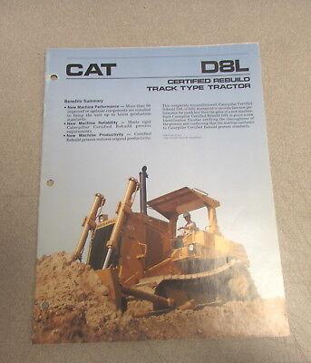 Cat Caterpillar D8l Track-type Tractor Manual Brochure Pehp6516 1986