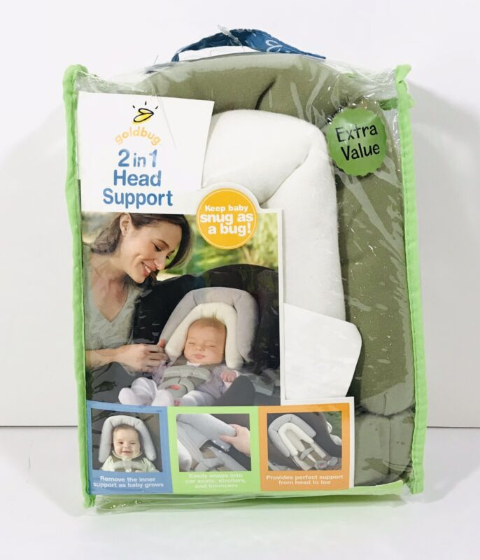 Goldbug 2-in-1 Infant Baby Head Support Baby Car Seat Travel Safety White Brown