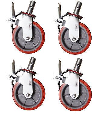 Set 4 Scaffolding Casters 8x 2 Heavy Duty 750lbs Pu Caster Wheel W Lock Brake