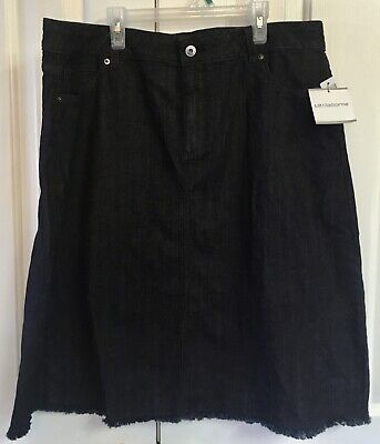 NEW! Liz Claiborne Black Denim Skirt Sz 16 Los Cabos Lagoon Collection Front Zip comprar usado  Enviando para Brazil