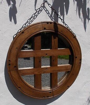 large mirror,vintage industrial wooden wheel mirror, rustic, old French