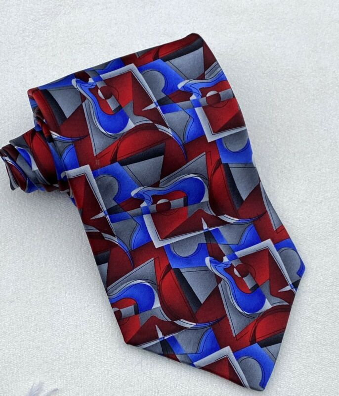 Beatles Red White Blue Gray Silk While My Guitar Gently Weeps Necktie Neck Tie