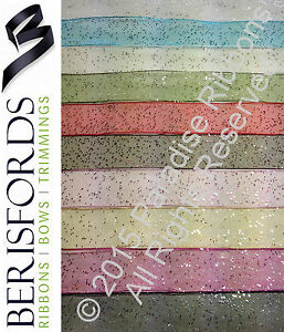2-METRES-15mm-25mm-40mm-Berisfords-RANDOM-GLITTER-Ribbon-CHOOSE-SHADE