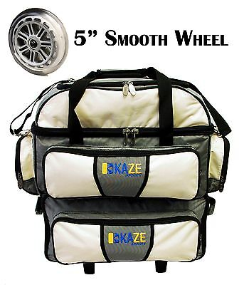 KAZE SPORTS 4 Ball Double Decker Bowling Bag Roller Tote with Smooth PU Wheels - 4 Ball Bowling Bags