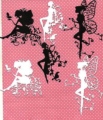 12 NEW  FAIRY DIE CUTS -BLACK/WHITE SILHOUETTE TOPPER-CHRISTMAS/JARS