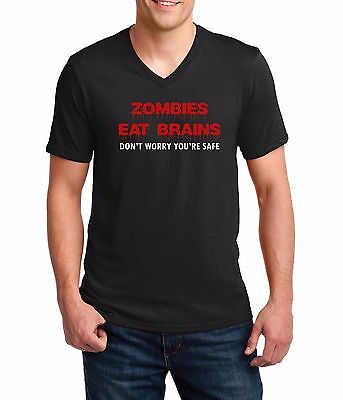 Men's V-neck Zombies Eat Brains Shirt Funny Humor Tee Rude Halloween Party Gift - Zombie Gifts For Men