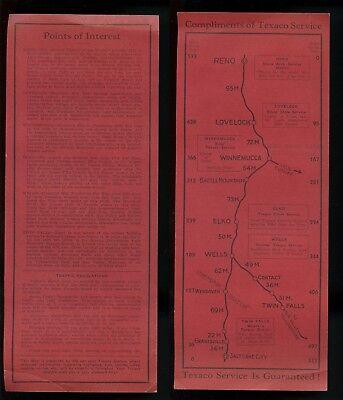 circa 1940 TEXACO SERVICE MAP Dealer Handout Interstate I-80 RENO to SLC