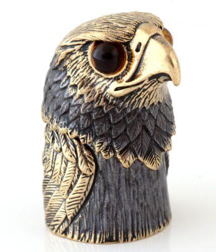 Falcon Hawk Brass Bronze Thimble Figurine 2 in 1 Baltic Amber Miniature Souvenir