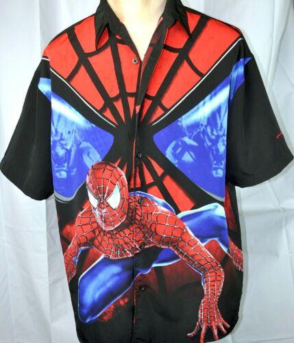 Spider Man 2002 Marvel Comics L Button Shirt Large Mens Green Goblin Spiderman