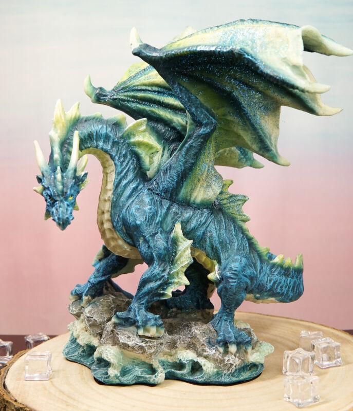 "Ebros Large Blue Hyperion Water Behemoth Dragon Standing On Rock Figurine 11"" H"