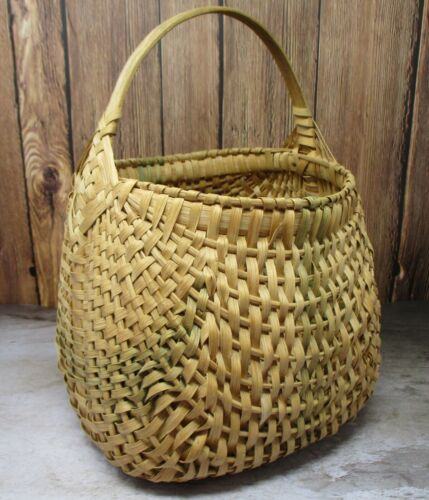 Vintage Gathering Hand Woven Basket w/ Bentwood Handle Faded Green Bands VA Farm
