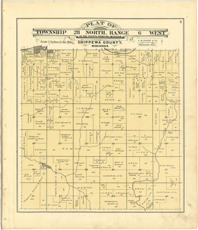 1888 atlas CHIPPEWA COUNTY WISCONSIN maps plat old GENEALOGY history DVD P77