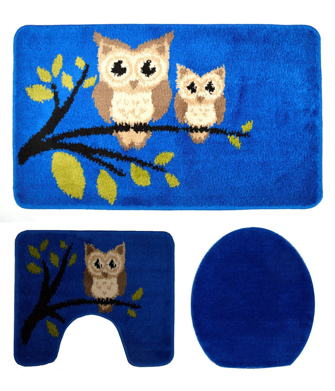 Badgarnitur Badteppich Badezimmergarnitur 3 Teilig 100x60cm Blau Mit Motiv  Eule
