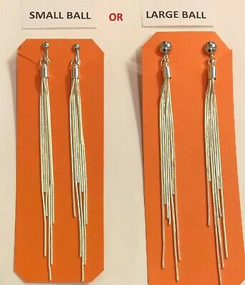 SILVER MULTI STRAND SNAKE Chain LONG STAGGERED TASSEL DANGLE Earrings CLIP ON!
