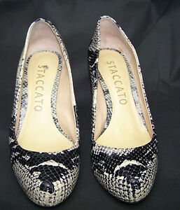 36fe342f16c7 ... Accessories · Women s Shoes · Staccato Women s Black White Size 5.5  Snake Skin Leather Heels