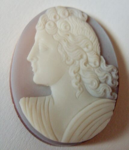 """LOOSE CARVED LEFT FACING HARDSTONE CAMEO 1 1/4"""""""