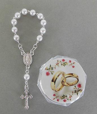Hochzeit Ehe Rosenkranz weiße Perlen mit Schatulle,Motiv: Eheringe,  AR 1138-1