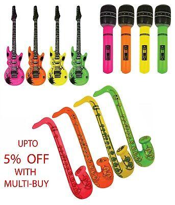 Inflatable GUITAR/SAXOPHONE/MICROPHONE Blow Up Fancy Dress Party Bag Prop Lot (Blow Up Saxophone)