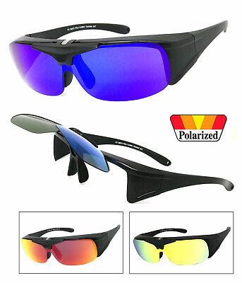 Flip Up Fit Over Sunglasses Polarized Lens Cover Over PRESCRIPTION GLASSES (Prescription Polarised Sunglasses)