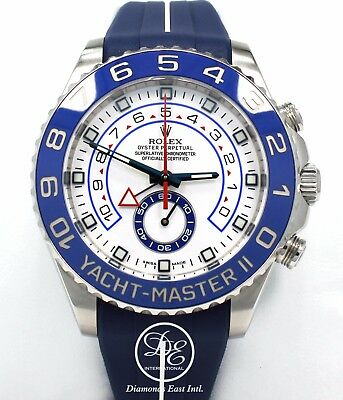 Rolex Yacht Master II 116680 44mm GMT Steel Oyster & RUBBER B Box/Papers *MINT*