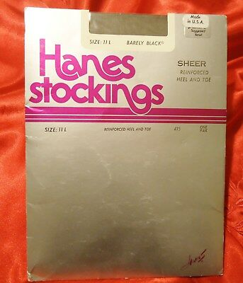 11LONG HANES 415 B BLACK RHT VINTAGE NYLON STOCKINGS SEXY NYLON HOSIERY NYLONS