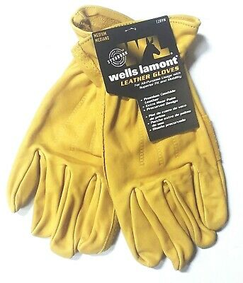 Wells Lamont Mens Medium Premium Leather Work Gloves Brand New
