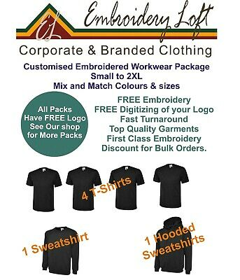 PERSONALISED T-SHIRT PACKAGE EMBROIDERED T-SHIRT WORKWEAR MANPACK BUNDLE PACK 7