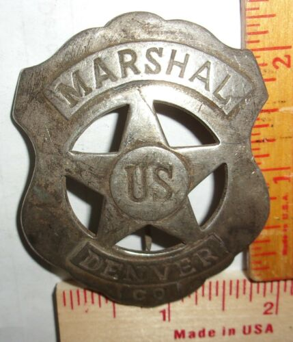 """US Marshal Denver"" badge vintage collectible old West Southwestern cowboy pin"