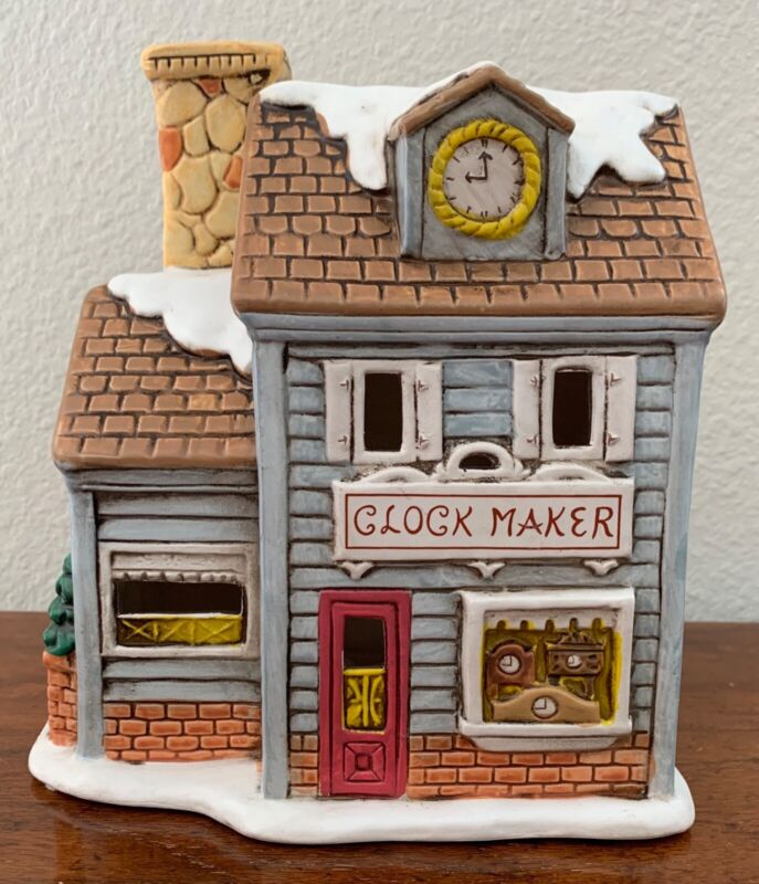 Vintage Lefton Christmas Colonial Village watch maker house Byron Wood 1988