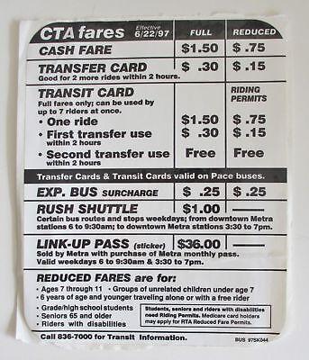 Vintage Chicago CTA Bus Fares Sticker
