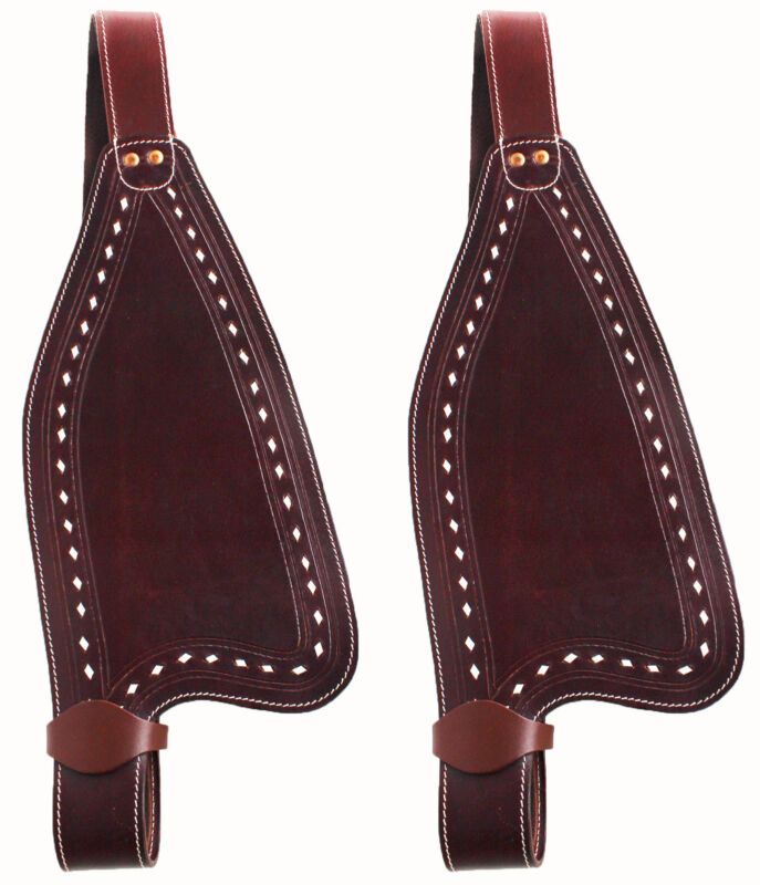 Horse Western Leather Replacement Saddle Fenders Mahogany 5204