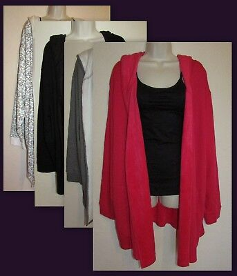 Fleece Lined Cardigan (Womans 4X Fleece Lined Open Front Hooded Cardigan With Pockets New in)