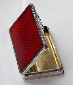 STUNNING LARGE ART DECO RED GUILLOCHE ENAMEL & STONE SET SOLID SILVER SNUFF BOX