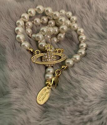 Vivienne Westwood Pearl Necklace Mini Bas Relief Choker Gold Pendant