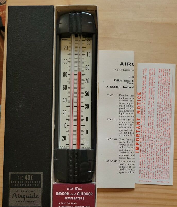 Vintage Airguide Indoor-Outdoor Thermometer Model 407 New!