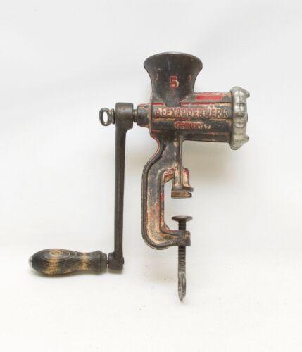 Antique Alexanderwerk Germany # 5 Meat Grinder Iron Cast Enameled