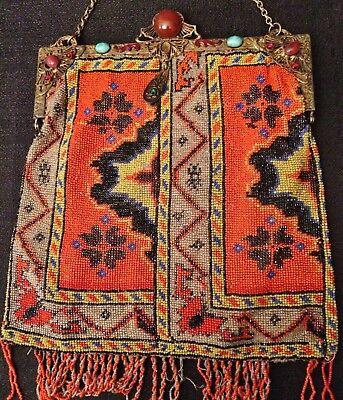 1800's ANTIQUE VICTORIAN MICRO BEADED PURSE Native Persian Carpet Design Jewels - Beaded Purse Designs