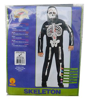 Rubie's Halloween Skelett Kinderkostüm Anzug Kapuzenmaske ca.von 8-10 Jahre NEU