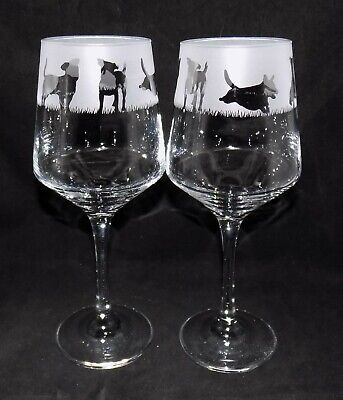 """New & Improved Design of Etched """"JACK RUSSELL"""" Wine Glass(es) - Free Gift Box"""