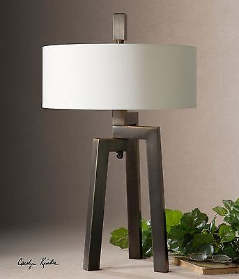Bronze Geometric Tripod Table Lamp | Modern Contemporary Iron