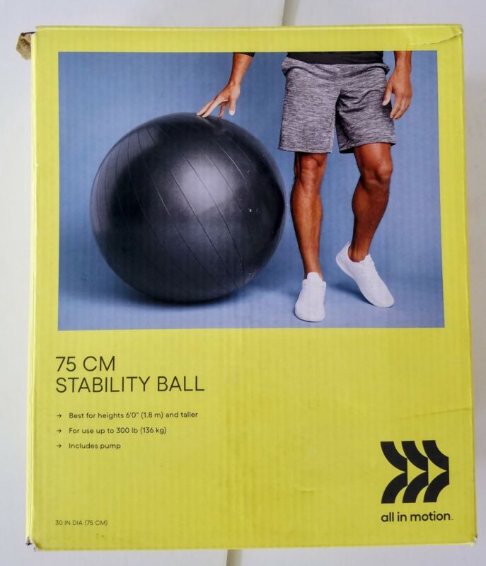 Stability Ball Size 75 CM - All in Motion™ NEW in Box FREE SHIPPING Great Deal!